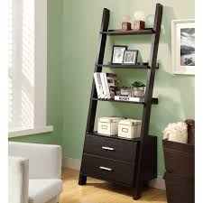 Enchanting Espresso Painted Open Ladder Shelf With Double Drawers As Well  As Green Wall Painted Also White Accent Chairs In Small Living Room Decors
