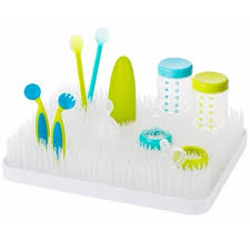 boon lawn countertop drying rack white with green blue accessories