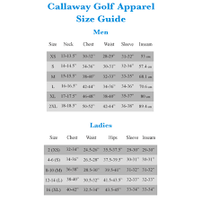 Callaway Ladies Size Chart