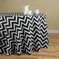 chevron round cotton tablecloth black white