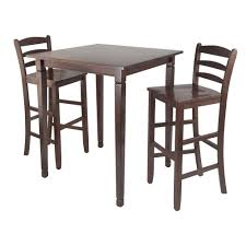 winsome kingsgate 3 piece walnut pub dining set table chair brown
