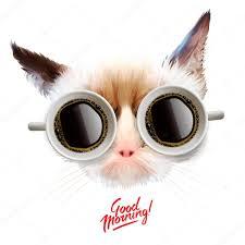 Guten Morgen Lustige Katze Mit Tassen Kaffee Stockvektor