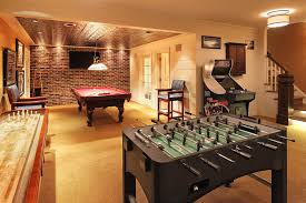 game room lighting ideas basement finishing ideas. Drum Pendant Lighting With Ceilings And Pool Table Lights Also Brick Wall Decor Beige Carpet High Counter Chairs For Game Room Ideas In Cool Basement Finishing