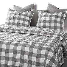 wake in cloud gray plaid quilt set