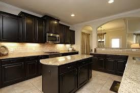 Modern Kitchen Best Theme Dark Cabinets Picture Good. Dark Wood Cabinets  With Light Granite ...