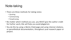 Note Taking And Citing Your Sources Ppt Video Online Download