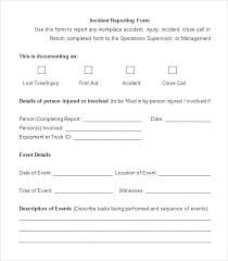 Sample Incident Report Template Workplace Form For Churches