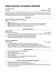 Basic Resume Examples For Students High School Student Resume Sample