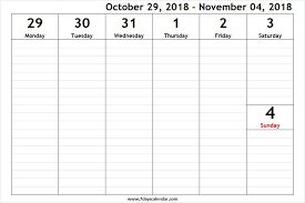 Weekly Calendars With Hours October 2018 Weekly Schedule With Hours Weekly Schedule