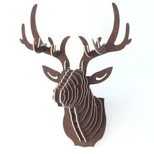 real stag head wall mount mfd coffee wooden puzzle deer head antler real stag head wall