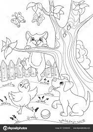 Childrens Kleurplaat Tekenfilm Dieren Vrienden In De Natuur Eendje