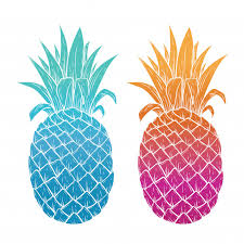 colorful pineapple background. illustration of colorful pineapple on white background premium vector d