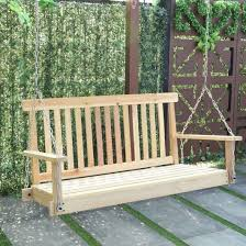 wood porch swing 4 garden hanging seat chains outdoor patio bench sun furniture