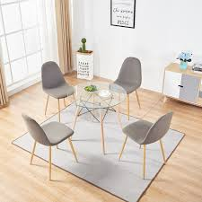 mcombo dining side chairs set of 4 dining table round clear glass table for kitchen