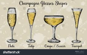 vector ilration of champagne glasses shapes vintage sketch