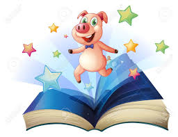 ilration of an open book with a pig jumping happily on a white background stock vector