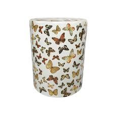 white ceramic garden stool with erfly pattern