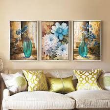 2018 modern minimalist european blue flower living room decorated