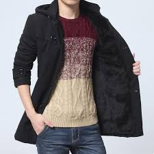 2018 korean winter jackets men thicken mens hooded wool coat velvet warm mens woolen long overcoat