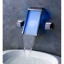 wall mount led waterfall bathroom sink faucet