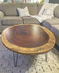 custom made live edge round acacia coffee table