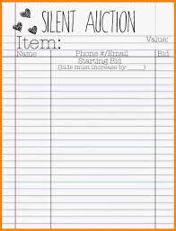 017 Silent Auction Bid Sheet Template Word 21442 Best Ideas