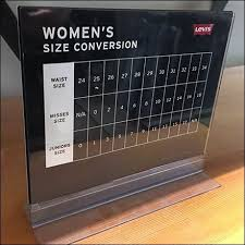 Table Top Size Chart Table Top Acrylic Womens Size Reference Fixtures Close Up