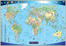 illustrated map of the world for kids  mapscom
