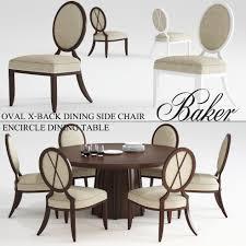 baker oval x back dining side chair encircle dining table 3d model max obj stl mtl