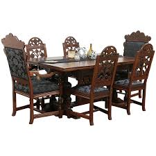 English Tudor Oak Dining Set Table Leaves 6 Chairs New