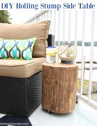 diy rolling stump side table tutorial at the happy housie