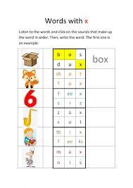 Phonics worksheets for kids including short vowel sounds and long vowel sounds for preschool and kindergarden. Sound X Interactive Worksheet