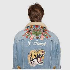 Gucci Coat Size Chart Embroidered Denim Jacket With Shearling