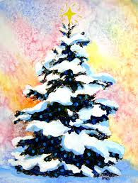 tree watercolor painting of a snowy lit pine tree by mary giacomini