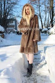 remarkable fur coat from fur of a short haired nutria finishing a mink on