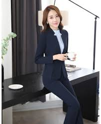 suits office. Fashion Dark Blue Blazer Women Business Suits Formal Office Work Wear Pant And Jacket Sets Beauty Salon Uniforms-in From Women\u0027s Clothing L