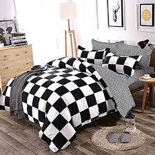 black and white plaid duvet cover set