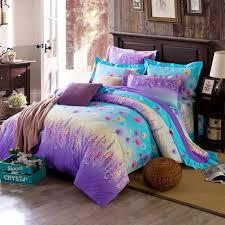 aqua and purple forest scene full size bright color bedding sets