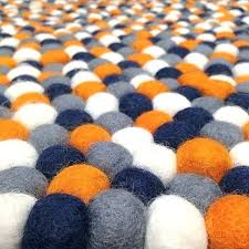 navy blue gray rug orange and area grey rugs white popular felt ball in round within navy grey orange rug blue