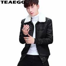 teaegg black leather jacket men brand men s leather jackets winter coat faux sheepskin er jacket faux fur collar coats al701