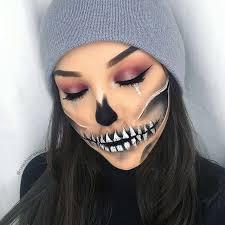 y half skull makeup
