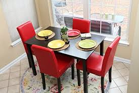 Red dining table set Dining Chairs Amazon Com Pc Red Leather Person Table And Chairs Dining Salongallery Dining Room Red Dining Room Set Salongallery Dining Room