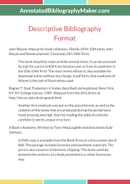 Awesome Descriptive Bibliography Example