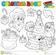 Coloring Book With Christmas Theme Stock Vector Illustration Of