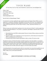 Receptionist Cover Letter Custom Cover Letter Example Receptionist Elegant Cl Template For Job