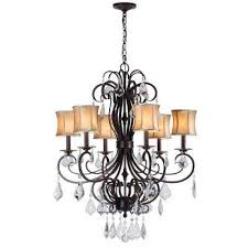 annelise 6 light bronze chandelier with fabric shades and crystal drop accents