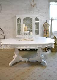 Ravishing Painted Shabby Chic Furniture Pedestal Dining Table T