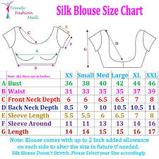 Blouse Measurement Chart Trendyfashionmall Readymade Sleeveless Printed Cotton Saree Blouse Multi Color Collection