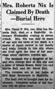 Ina Roberta Ball Nix (1903-1927) - Find A Grave Memorial