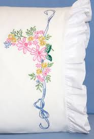 Flower Designs For Pillow Cases Fairway Stamped Embroidery Ribbon Flowers Pillowcases